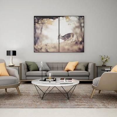 沙发组合, 多人沙发, 茶几, 椅子, 壁画, 边几, 台灯, 现代
