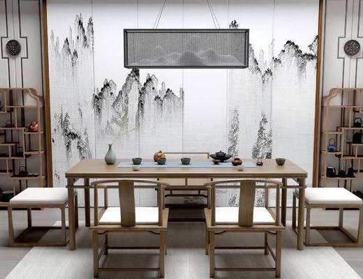 新中式茶室, 桌子, 椅子, 壁画, 吊灯, 凳子, 置物架, 地毯, 新中式