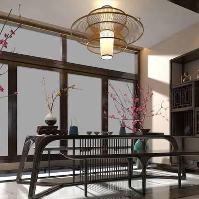 茶室, 桌子, 吊灯, 置物柜, 花瓶, 中式