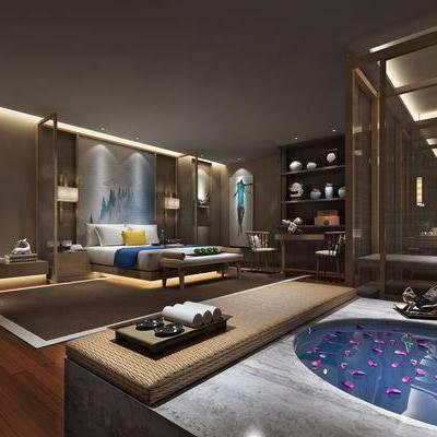现代卧室, 双人床, 壁画, 边几, 桌子, 椅子, 浴缸, 置物柜, 吊灯, 壁灯, 多人沙发, 床尾塌, 现代