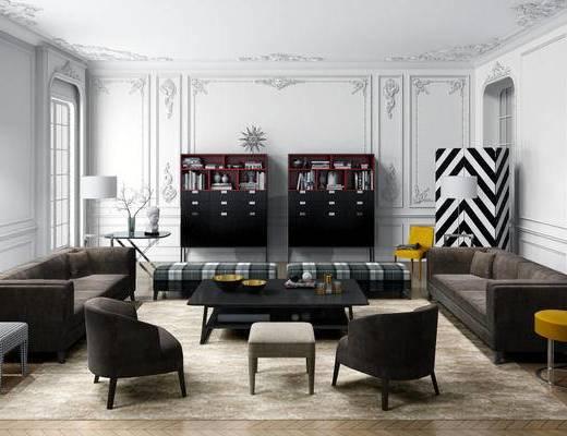 欧式简约, 沙发茶几组合, 台灯, 置物柜, 简欧