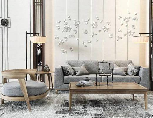 新中式, 沙发茶几组合, 落地灯, 墙饰, 茶具