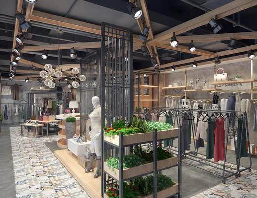 现代服装店, 现代女装店, 工业风服装店, 女装店, 衣架, 衣服, 摆件, 吊灯