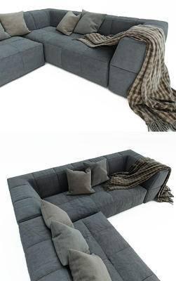 多人沙发, 北欧, 沙发, 抱枕