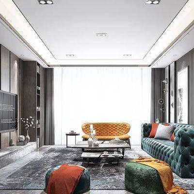 现代客厅, 多人沙发, 边几, 茶几, 沙发凳, 置物柜, 台灯, 地毯, 现代