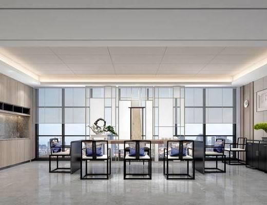 新中式茶室, 桌子, 椅子, 置物柜, 边柜, 壁灯, 盆栽, 新中式