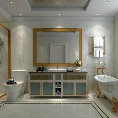 卫生间, 洗手台, 镜子, 壁灯, 马桶, 淋浴间, 浴缸, 欧式
