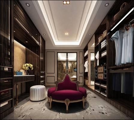 欧式衣帽间, 衣柜, 椅子, 凳子, 衣服, 欧式