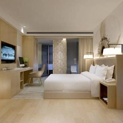 现代宾馆, 双人床, 桌子, 椅子, 床头柜, 台灯, 现代