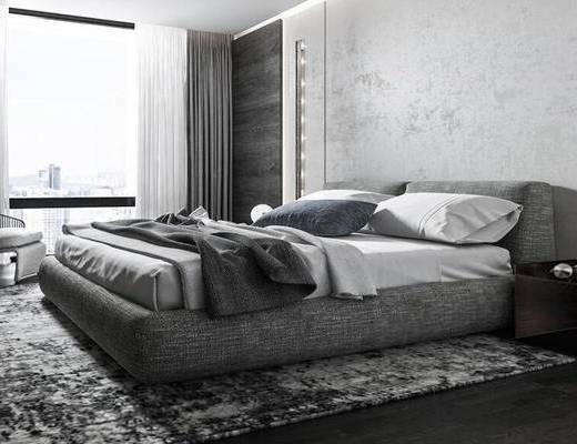 现代, 卧室, 床, 单人沙发, 窗帘, 床头柜, 摆件