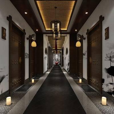 走廊过道, 壁画, 落地灯, 吊灯, 花瓶, 中式