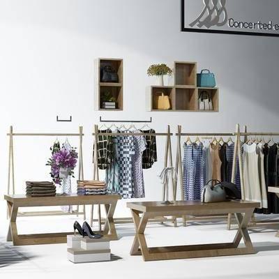 现代服饰展架, 现代, 服装, 展架, 花瓶, 包包, 衣服