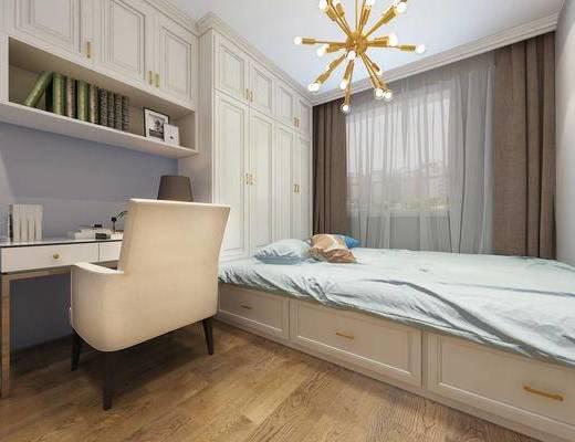 现代卧室, 榻榻米卧室, 现代床具, 书桌, 椅子
