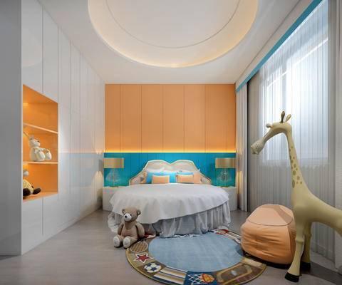 床具组合, 床头柜, 台灯, 双人床, 置物柜, 玩具, 地毯, 北欧