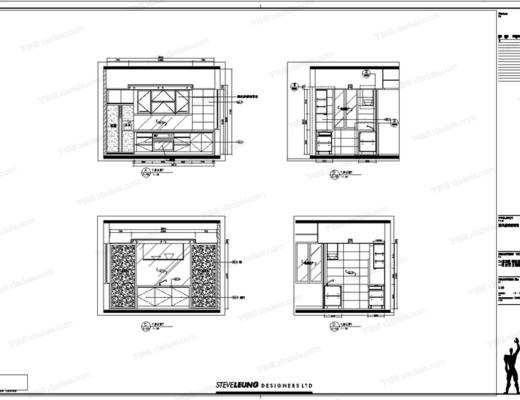 CAD, 名师, 梁志天, 施工图, 别墅, 立面, 平面
