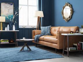 北欧long8龙8国际城, 棕色沙发, 沙发组合, 沙发茶几组合, 花瓶, 落地灯
