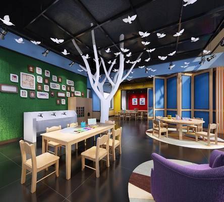 儿童训练场, 桌子, 椅子, 单人沙发, 屏风, 壁画, 现代
