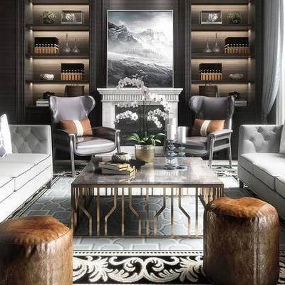 后现代客厅, 多人沙发, 边几, 沙发凳, 茶几, 置物柜, 椅子, 壁画, 盆栽, 后现代