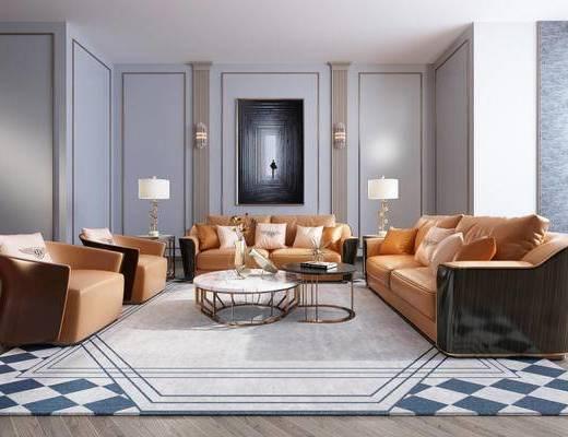 现代, 沙发, 茶几, 壁灯, 台灯, 花瓶, 陈设品