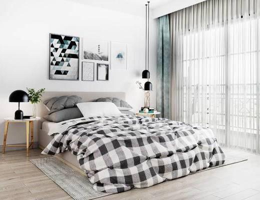床具组合, 双人床, 壁画, 边几, 吊灯, 北欧