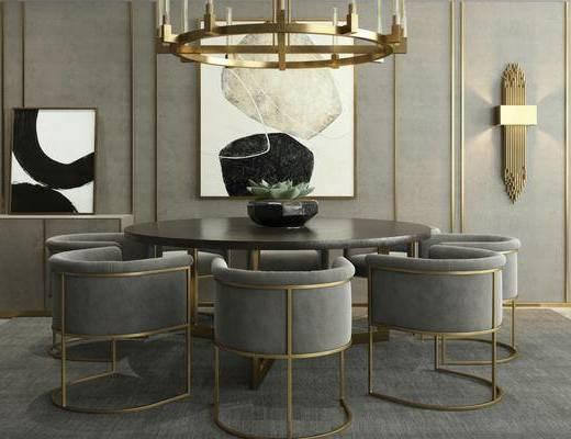 后现代, 桌椅组合, 吊灯, 花瓶, 装饰画