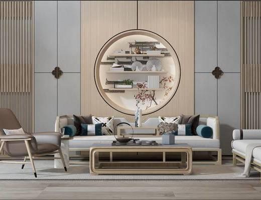 中式沙发组合, 多人沙发, 单椅, 茶几, 沙发凳, 中式
