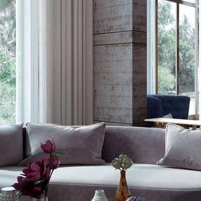 工业风客厅, 多人沙发, 桌子, 椅子, 置物柜, 台灯, 边几, 花瓶, 工业风