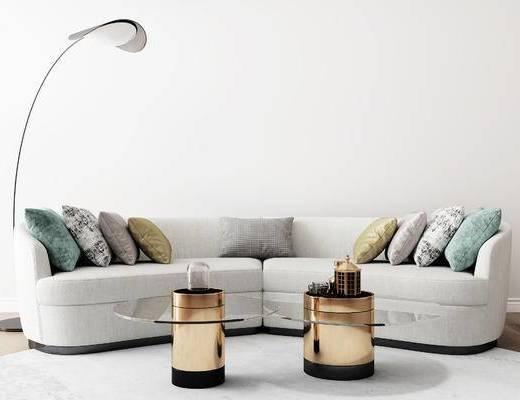沙发组合, 多人沙发, 落地灯, 茶几, 后现代