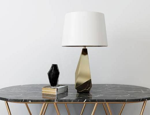 摆件组合, 桌子, 台灯, 现代
