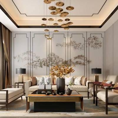 新中式, 沙发茶几组合, 吊灯, 茶具组合, 陈设品组合