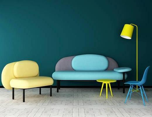 沙发组合, 多人沙发, 单人沙发, 椅子, 落地灯, 北欧