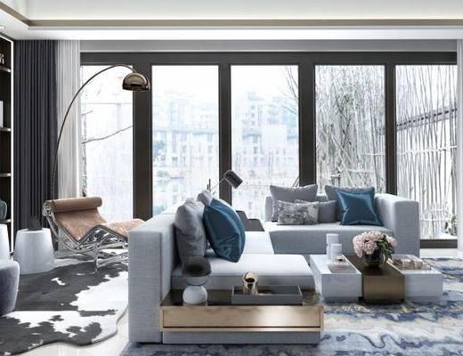 后现代客厅, 落地灯, 多人沙发, 茶几, 椅子, 置物柜, 后现代