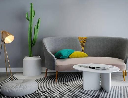 沙发组合, 多人沙发, 茶几, 落地灯, 盆栽, 北欧