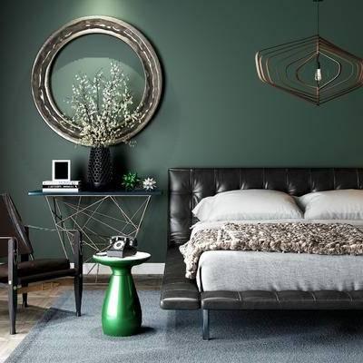 床具组合, 双人床, 椅子, 边几, 吊灯, 花瓶, 现代