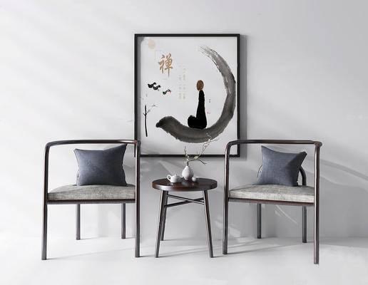 中式, 实木椅子, 实木茶几, 桌椅组合, 装饰画