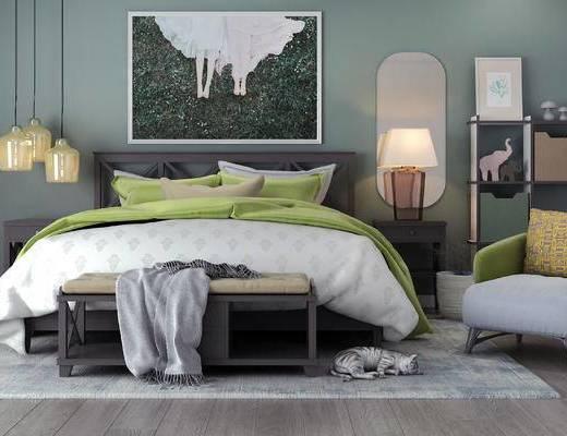 床具组合, 双人床, 壁画, 台灯, 床头柜, 吊灯, 椅子, 床尾塌, 北欧