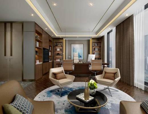 现代办公室, 桌子, 椅子, 置物柜, 壁画, 茶几, 现代