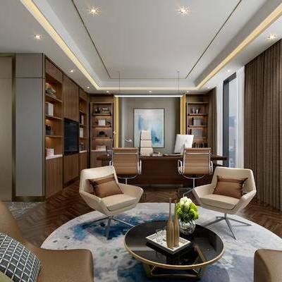 现代办公室, 桌子, 椅子, 电脑, 壁画, 置物柜, 茶几, 花瓶, 现代