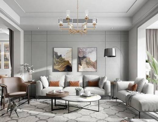 客厅, 吊灯, 落地灯, 现代, 沙发, 花瓶
