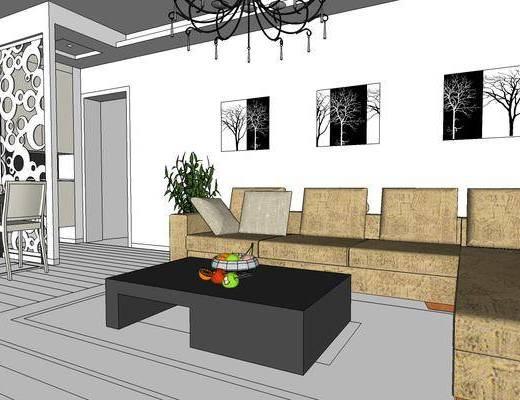 现代客厅, 客厅餐厅, 沙发组合