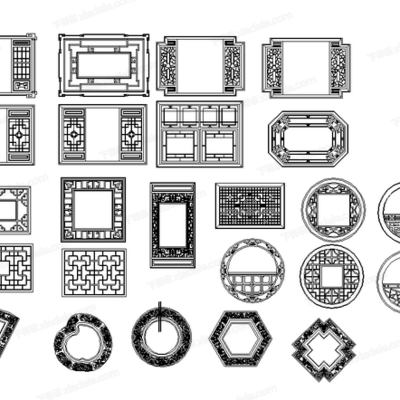 CAD, 模块, 图库, 立面图, 中式构件, 挂画立面图