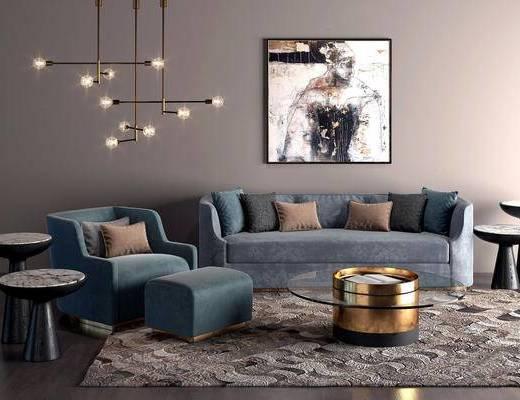 现代简约, 蓝色, 沙发茶几组合, 吊灯, 挂画