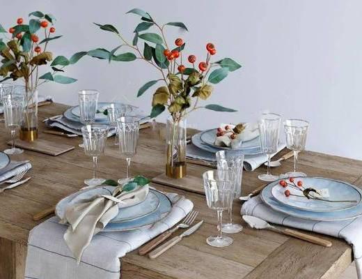 美式简约, 餐桌椅组合, 餐具, 摆件