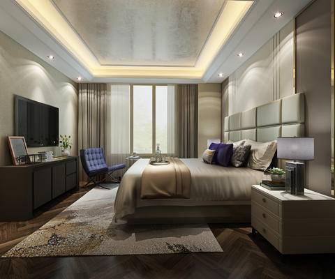 现代卧室, 床头柜, 台灯, 电视柜, 椅子, 地毯, 现代