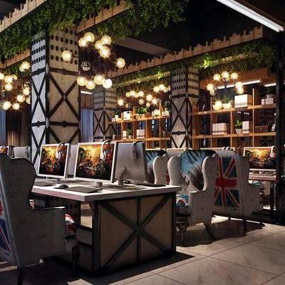 网吧, 置物柜, 桌子, 椅子, 吊灯, 现代