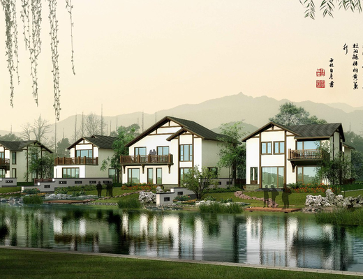 别墅, 门面门头, 树木, 竹子, 植物绿植, 草地, 石头, 池塘, 花卉, 中式