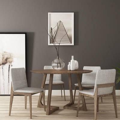 桌椅组合, 桌子, 椅子, 壁画, 花瓶, 盆栽, 现代