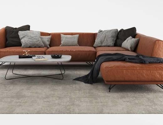 美式, 多人沙发, 棕色, 沙发, 茶几, 枕头