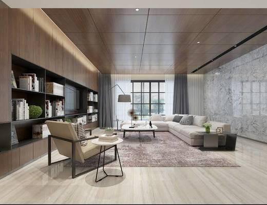现代客厅, 多人沙发, 茶几, 置物柜, 椅子, 边几, 落地灯, 现代