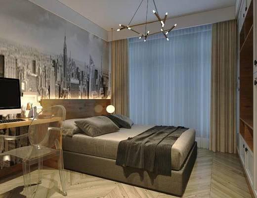 北欧卧室, 床, 吊灯, 桌椅组合, 壁画, 储物柜, 北欧